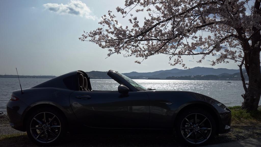 ロードスターRFと浜名湖・桜スポット